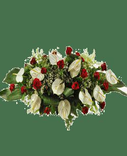 Cuscini Con Rose.Cuscino Con Anthurium Bianco E Rose Rosse Cod 153 Fioraio Roma
